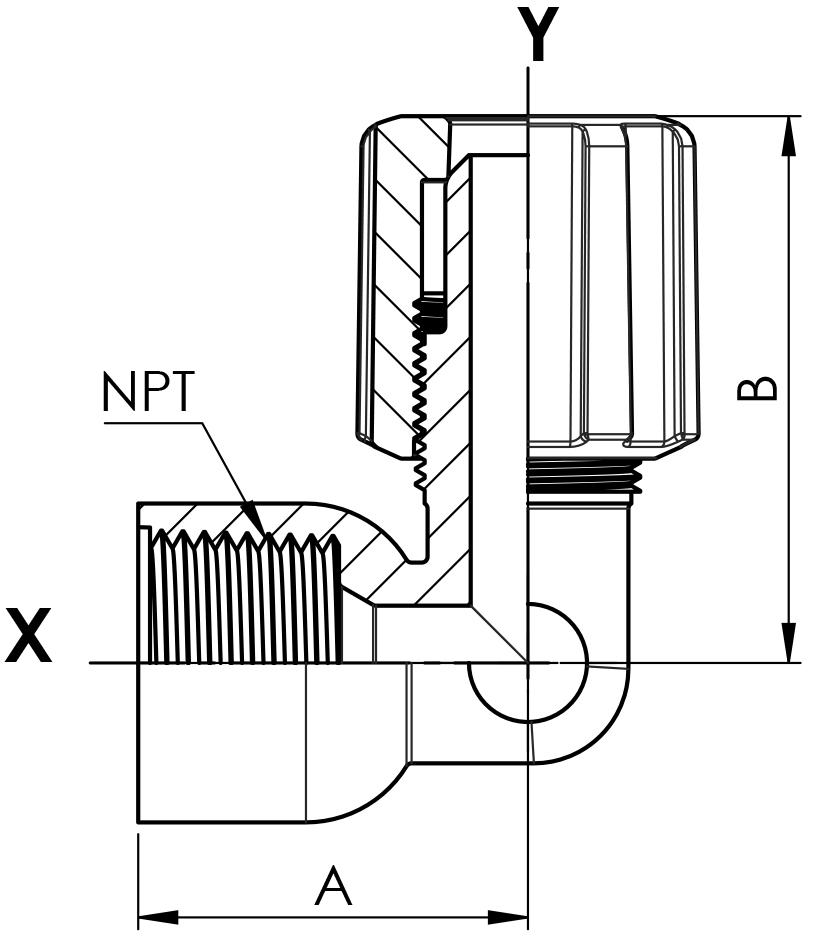 Aufschraubwinkel PFA mit Flareanschluss und NPT-Innengewinde mit PVDF-Überwurfmuttern