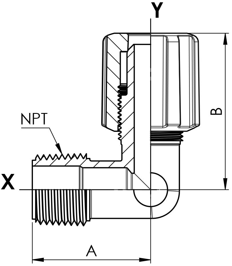 Einschraubwinkel PFA mit Flare und NPT-Außengewinde mit PVDF-Überwurfmutter