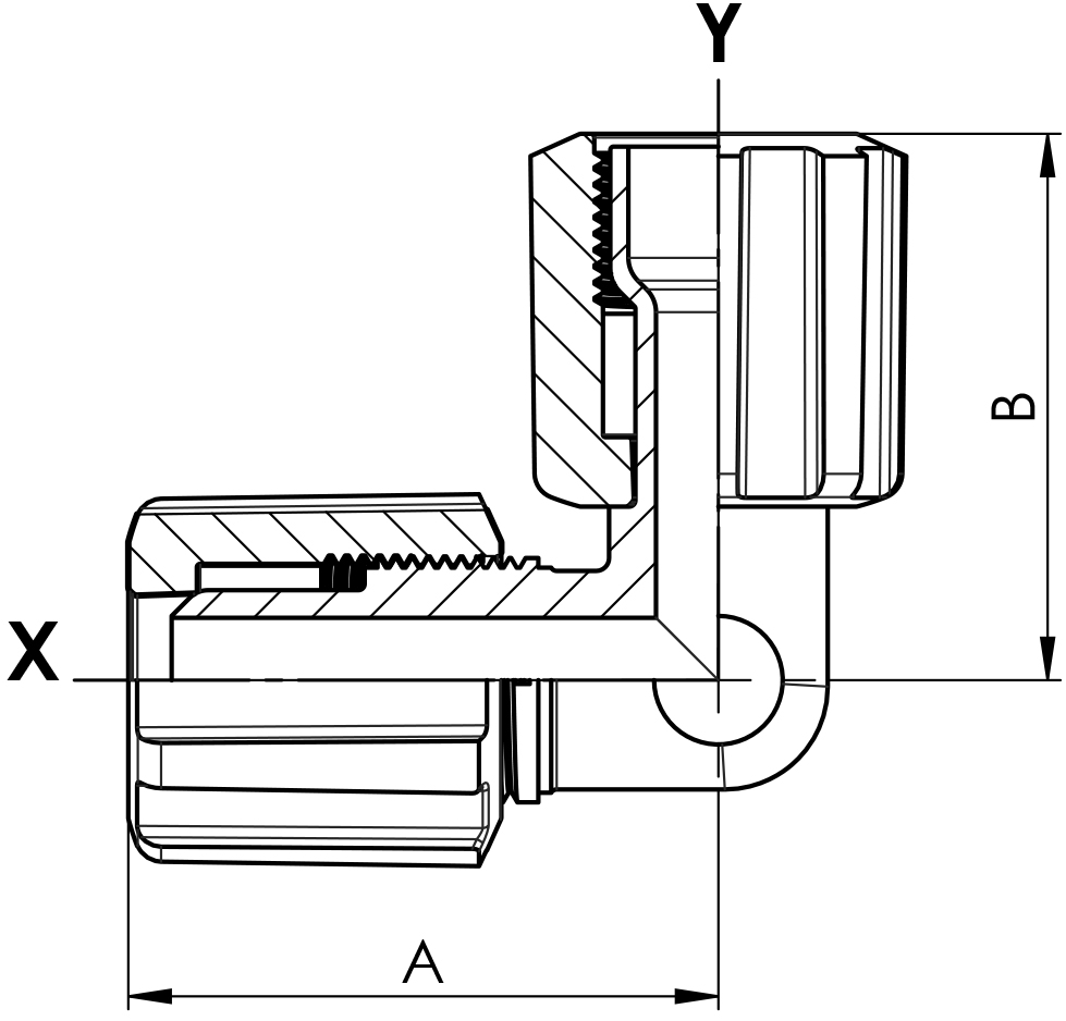 Winkel PFA Flare und Space Saver mit PVDF-Überwurfmutter
