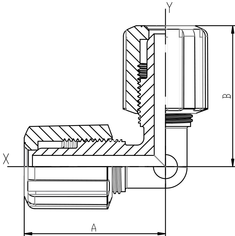 Winkel PFA mit Flareanschluss mit PVDF-Überwurfmutter