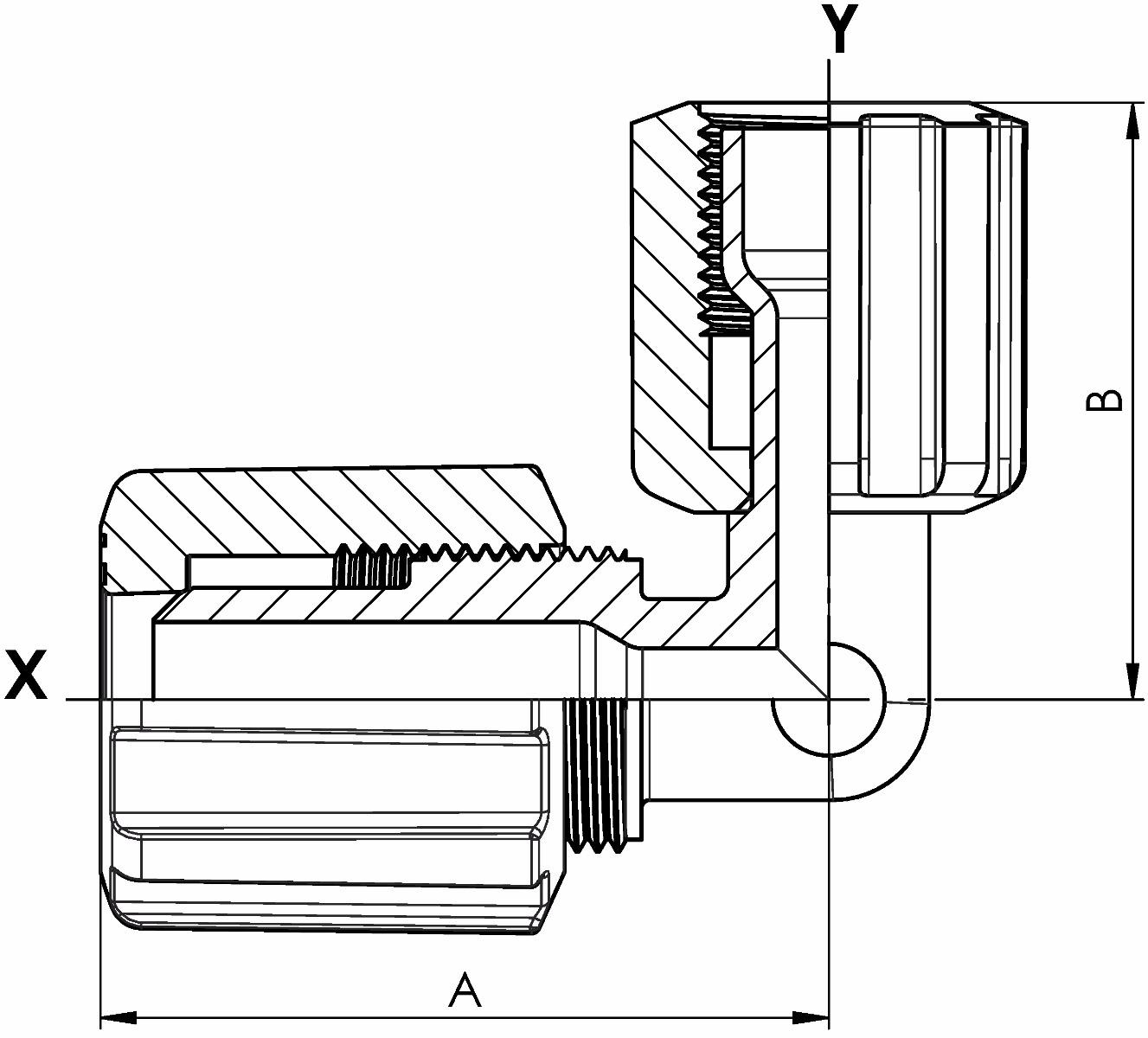 Winkel PFA reduziert Flare u. Space Saver mit PVDF-Überwurfmutter