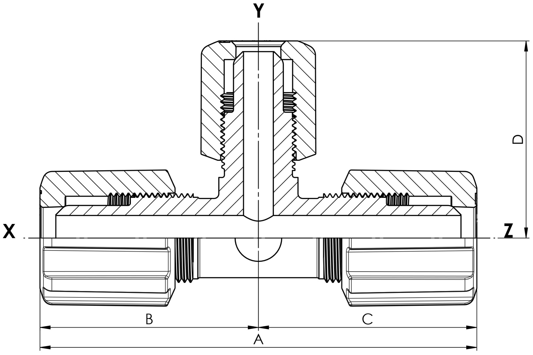 T-Stück Reduzierung mit PVDF-Überwurfmutter