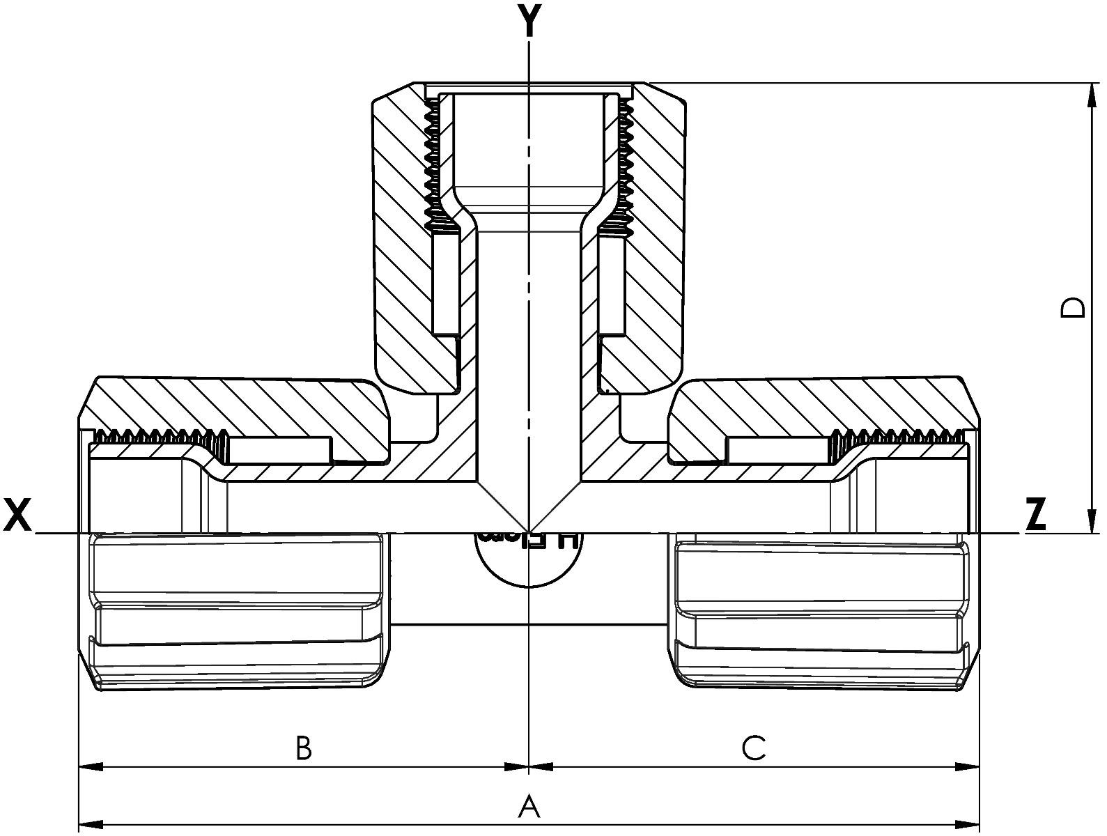 T-Stück Space Saver mit PFA-Überwurfmutter