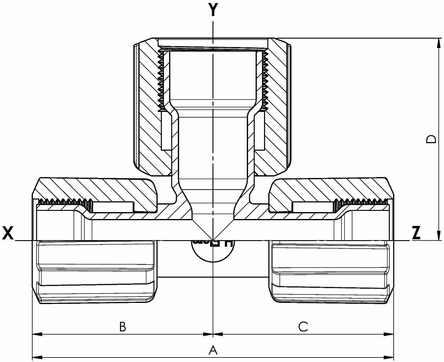 T-Stück Space Saver Reduzier. mit PFA-Überwurfmutter