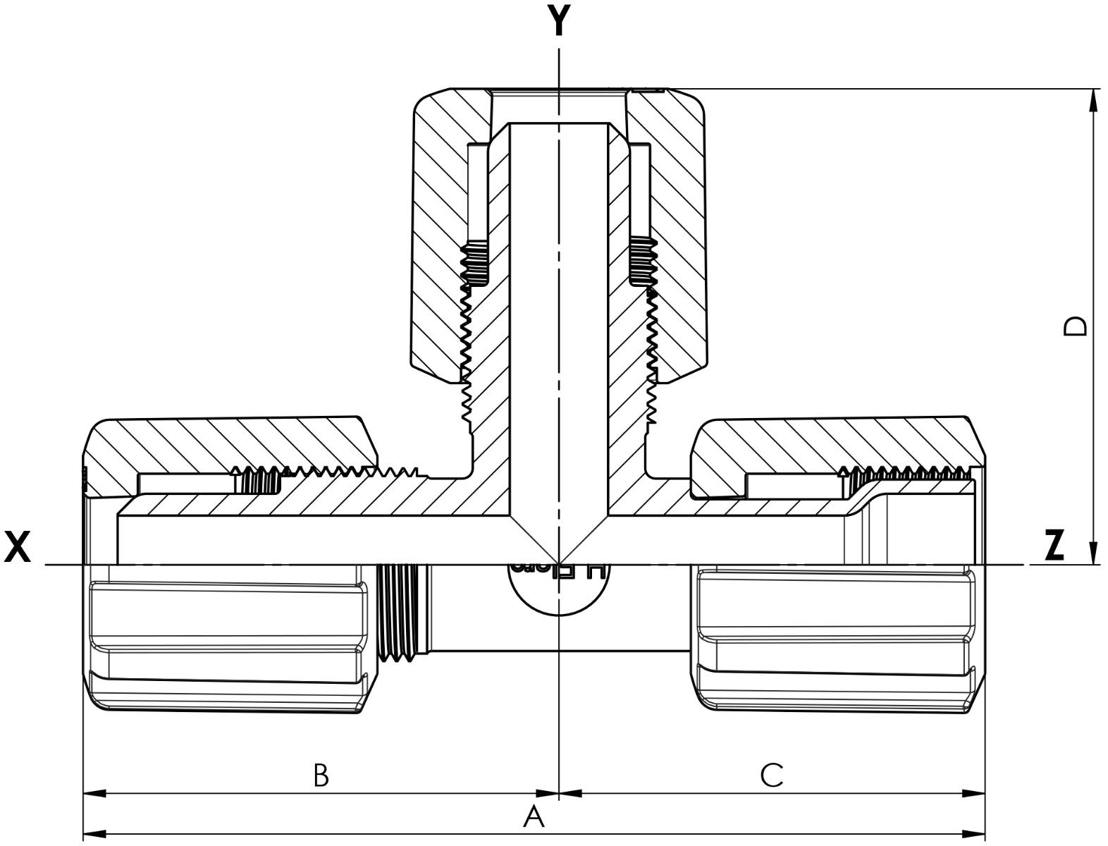 T-Stück Space Saver mit PVDF-Überwurfmutter