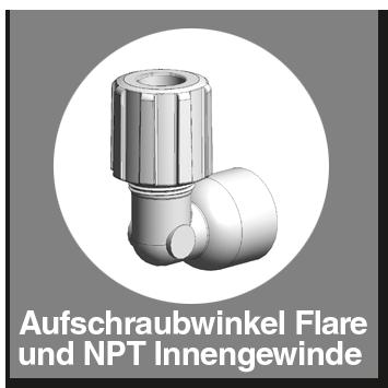 Aufschraubwinkel PFA mit Flareanschluss und NPT-Innengewinde