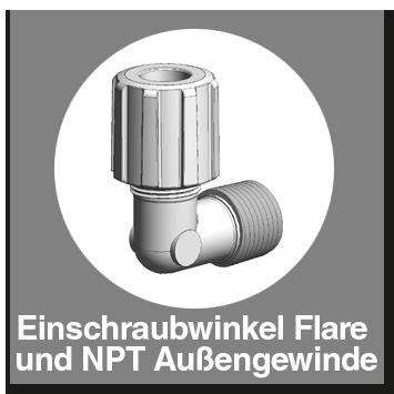 Einschraubwinkel PFA mit Flare und NPT-Außengewinde