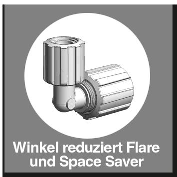 Winkel PFA reduziert Flare und Space Saver
