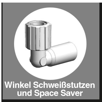 Winkel PFA Schweißstutzen und Space Saver