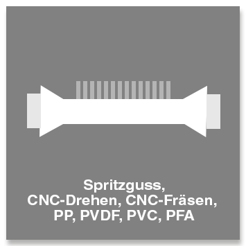 Spritzguss, CNC-Drehen, CNC-Fräsen, PP, PVDF, PVC, PFA